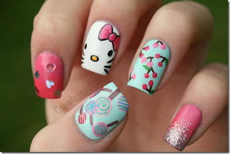 Nail art da Hello Kitty