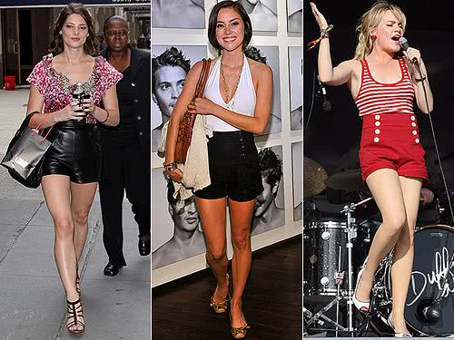 Ashley Greene, Jessica Stroup e Duffy com shorts de cós alto
