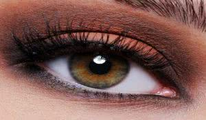 Front view of a close-up female eye with brown eyeshadow make-up