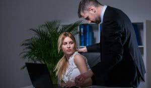Older handsome employer sexual bullying at work his younger assistant