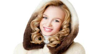Pretty blonde in fur hood